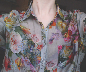 flowers, shirt, and vintage image
