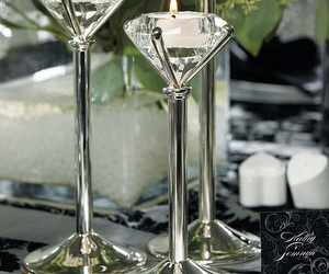 silver, centerpiece, and diamond votive image