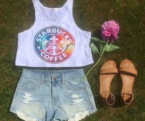 starbucks, flower, and outfit image