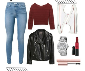 burgundy, converse, and leather jacket image