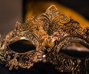 mask, gold, and masquerade image