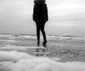 alone, beach, and see image