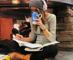 girl, studying, and book image