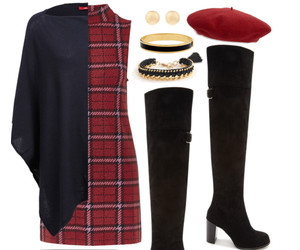 boots, burgundy, and dress image