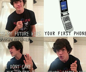 funny, aaron carpenter, and phone image
