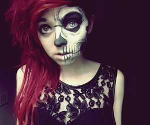 girl, hair, and skull image