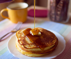 pancakes, food, and honey image