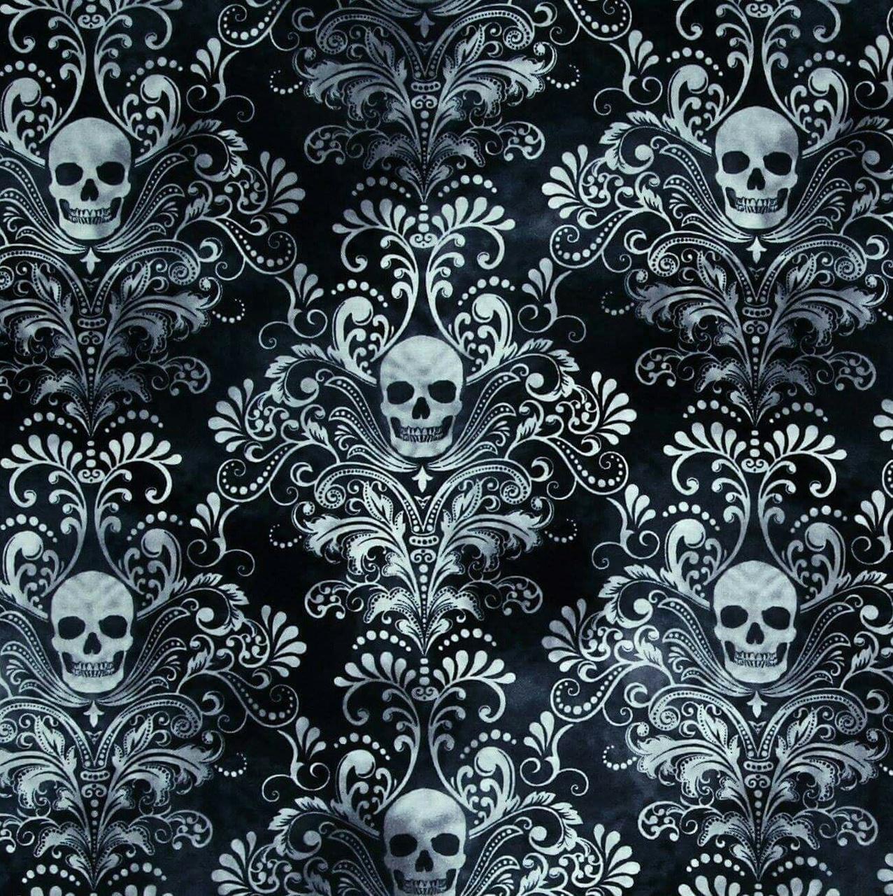 White Skull And Paisley Pattern On Black Wallpaper