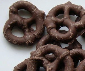 food, chocolate, and pretzel image