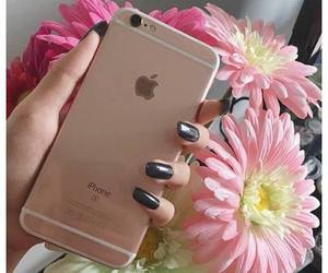 black nails, flowers, and iphone 6s image
