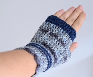 navy, fingerless mittens, and office wear image