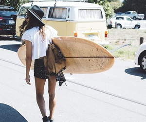 beach, girl, and surfboard image