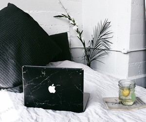 apple, black, and bed image