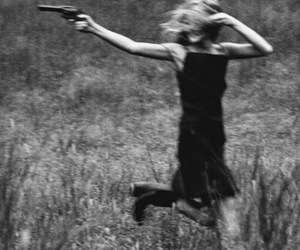 black and white, gun, and run image