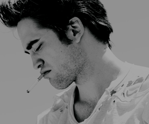 robert pattinson, black and white, and cigarette image