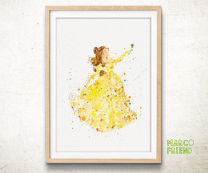 art print, watercolor print, and beauty and the beast image