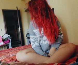 bedroom, girl, and red head image