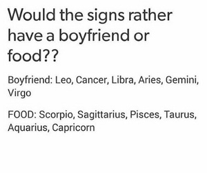 zodiac, sign, and food image