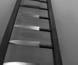 knife, ladder, and black and white image