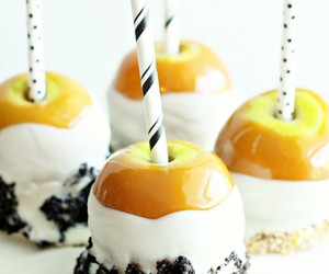 black and white, caramel apples, and chocolate image