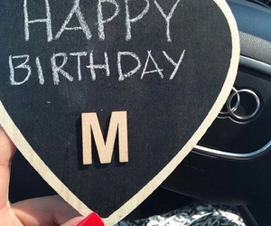 letters, M, and birthday image