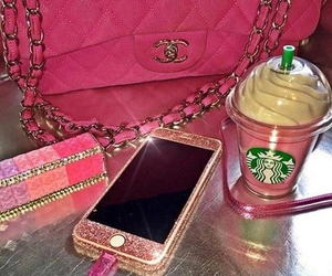 starbucks, iphone, and pink image