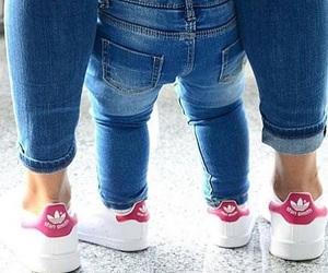 adidas, baby, and mom image