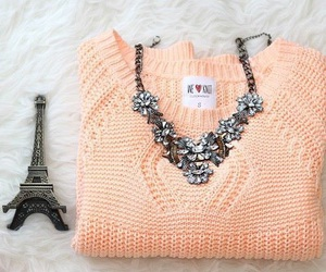 necklace, paris, and sweater image
