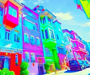 colorful, street, and blue image