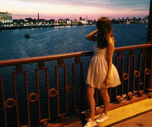 girl, night, and river image
