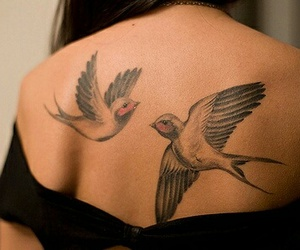 tattoo, bird, and back image