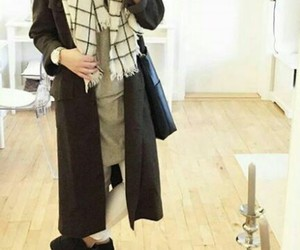 coat, hijab, and look image
