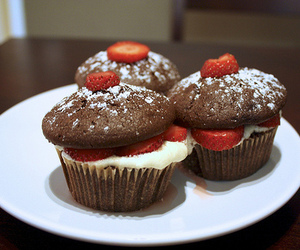 strawberry, chocolate, and cupcake image