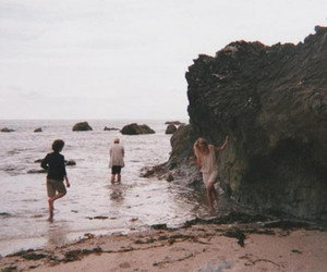 beach, friends, and sea image