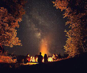 bonfire, friends, and fall image