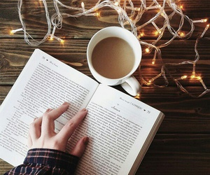 book, coffee, and lights image