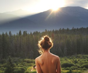 forest, morning, and girl image