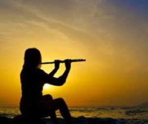 flute, girl, and sunset image