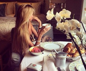 girl, blonde, and breakfast image