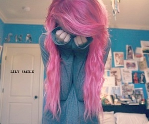 hair, pink, and emo image