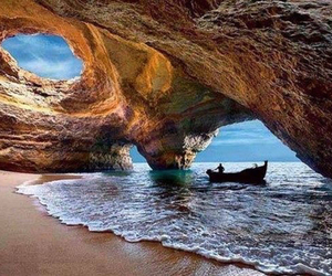 beach, boat, and portugal image