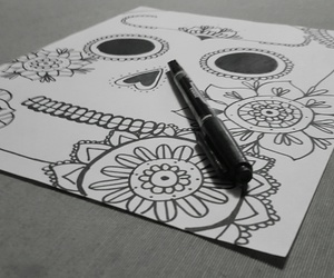 blanck and white, catrina, and dibujo image
