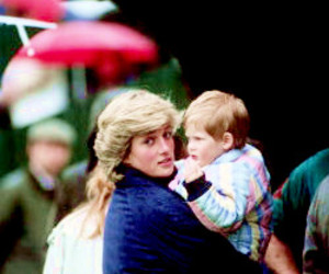 prince harry, princess diana, and harry wales image