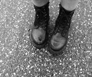 black and white, boots, and outdoor image