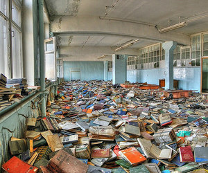book, library, and abandoned image