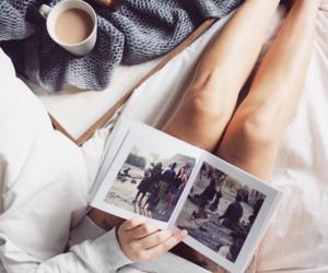 bed, coffee, and book image