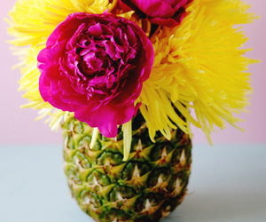flowers, pineapple, and vase image