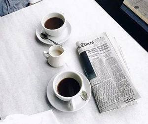 coffee, newspaper, and cafe image