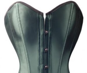 green satin and overbust corset tops image