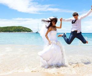 beach, wedding, and couple image